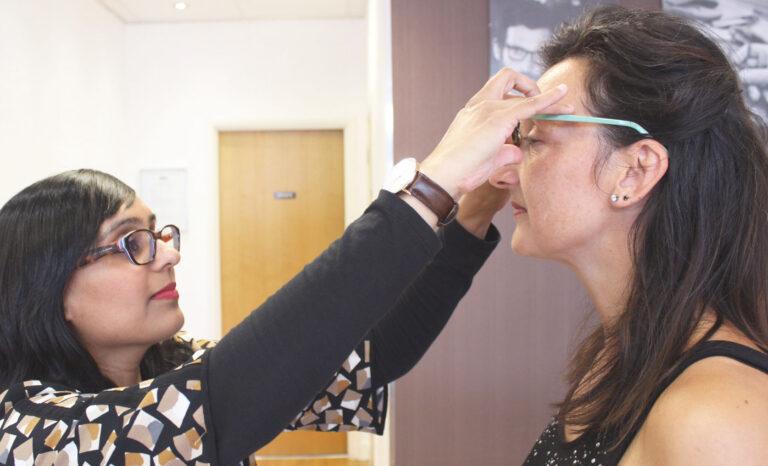 Optician checking Eyewear Fit